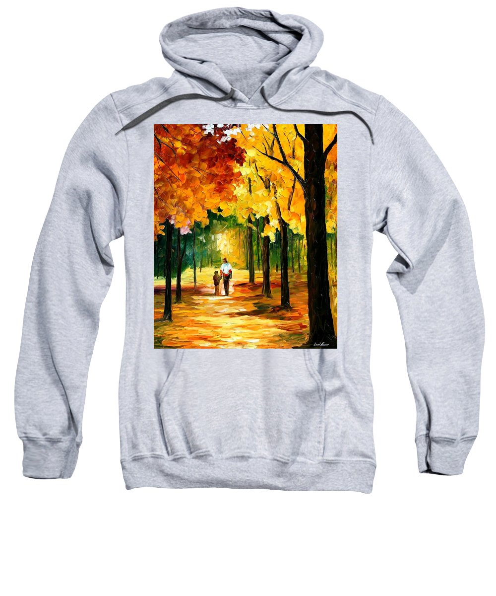 Afremov Sweatshirt featuring the painting Stroll In The Forest by Leonid Afremov