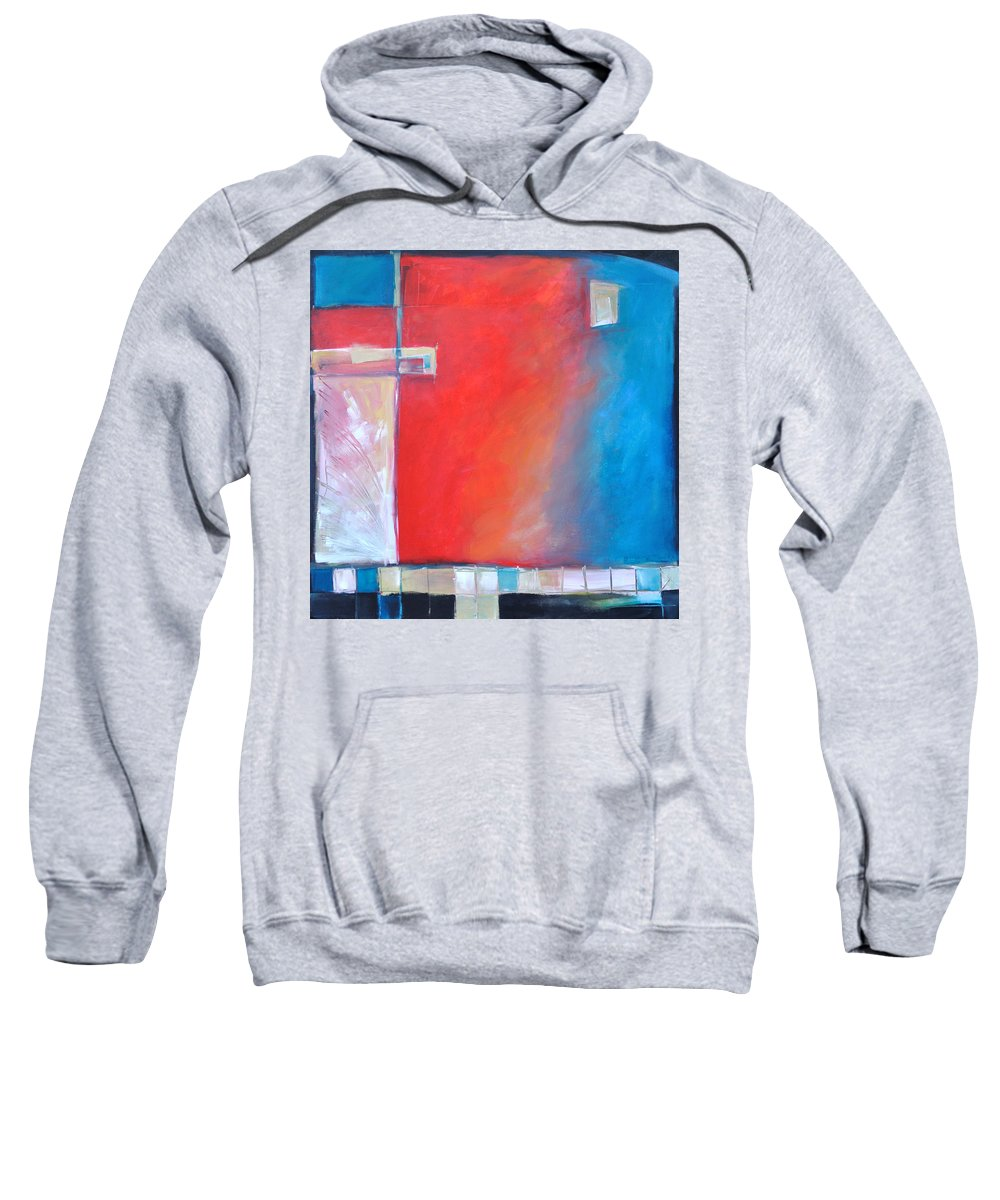 Abstract Sweatshirt featuring the painting Structures And Solitude Revisited by Tim Nyberg