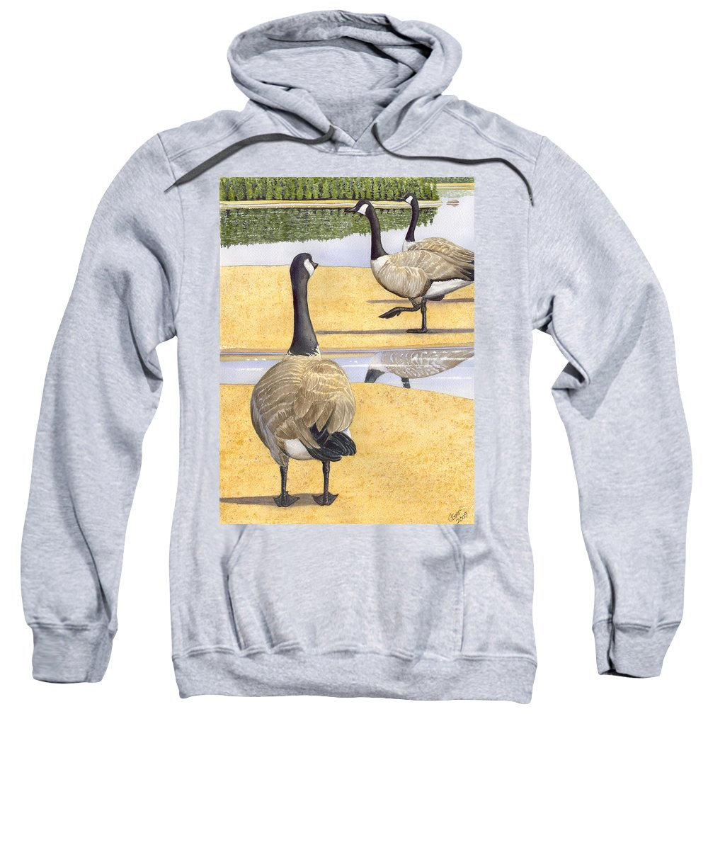 Geese Sweatshirt featuring the painting Struttin Thier Stuff by Catherine G McElroy