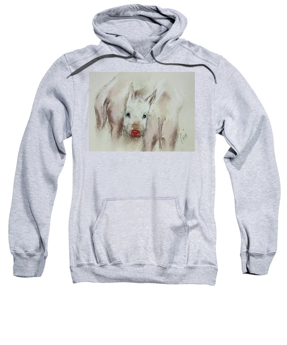 Animal Sweatshirt featuring the drawing Stuck In The Middle by Cori Solomon