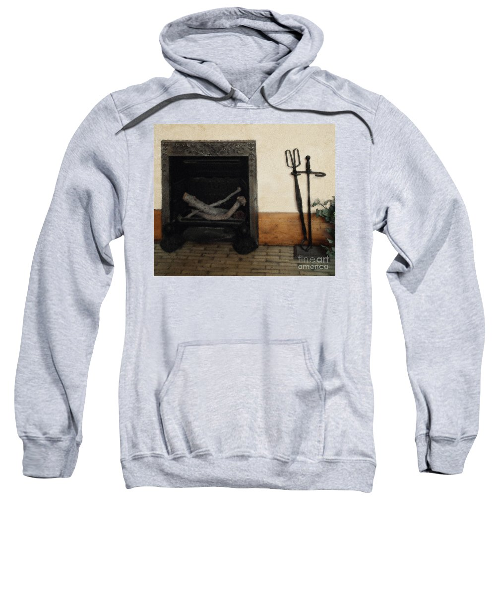 Fireplace Sweatshirt featuring the painting Study In Iron, Wood And Stone by RC DeWinter