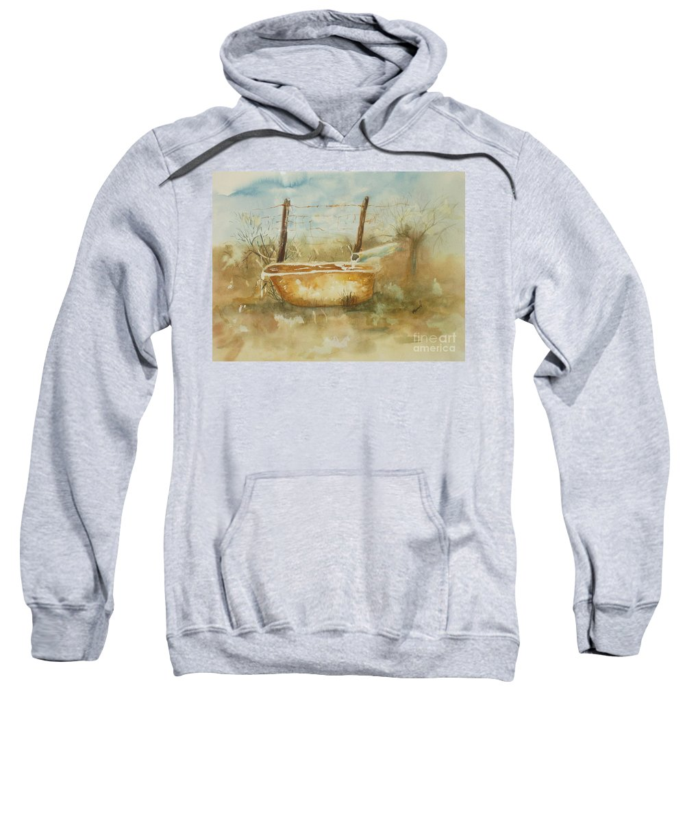 Watercolor Sweatshirt featuring the painting Study Of A Watering Tub by Vicki Housel