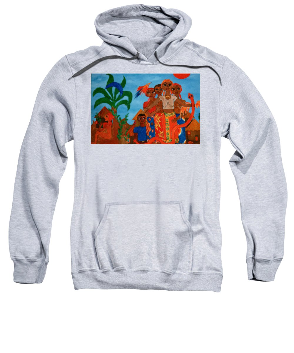 Study Sweatshirt featuring the painting Study To Motherland A Place Of Exile by Madalena Lobao-Tello