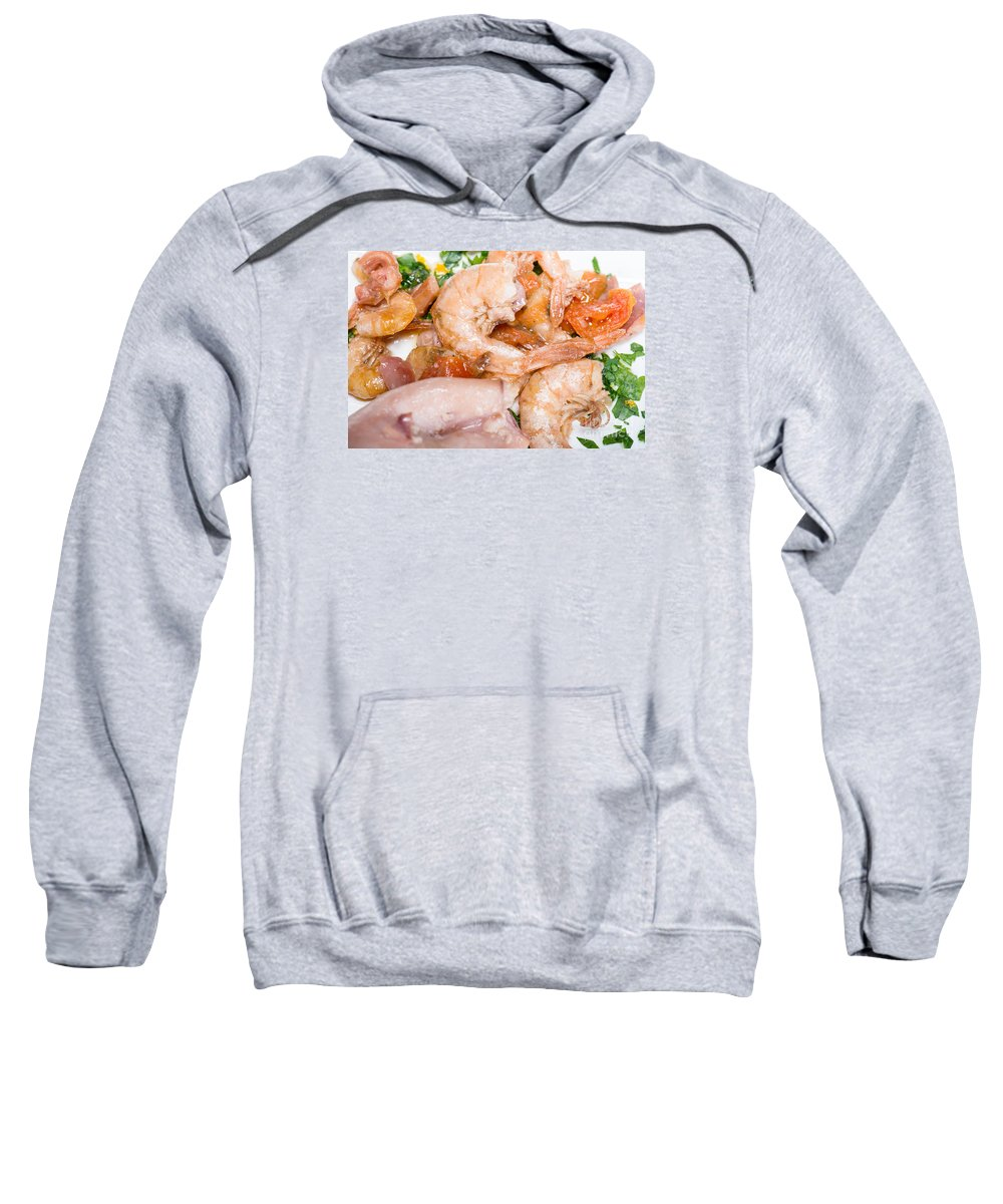 Italian Sweatshirt featuring the photograph Stuffed Squid Fried With Shrimp by Massimiliano Marino