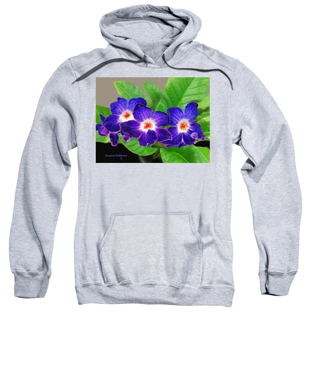Flowers Sweatshirt featuring the painting Stunning Blue Flowers by Susanna Katherine