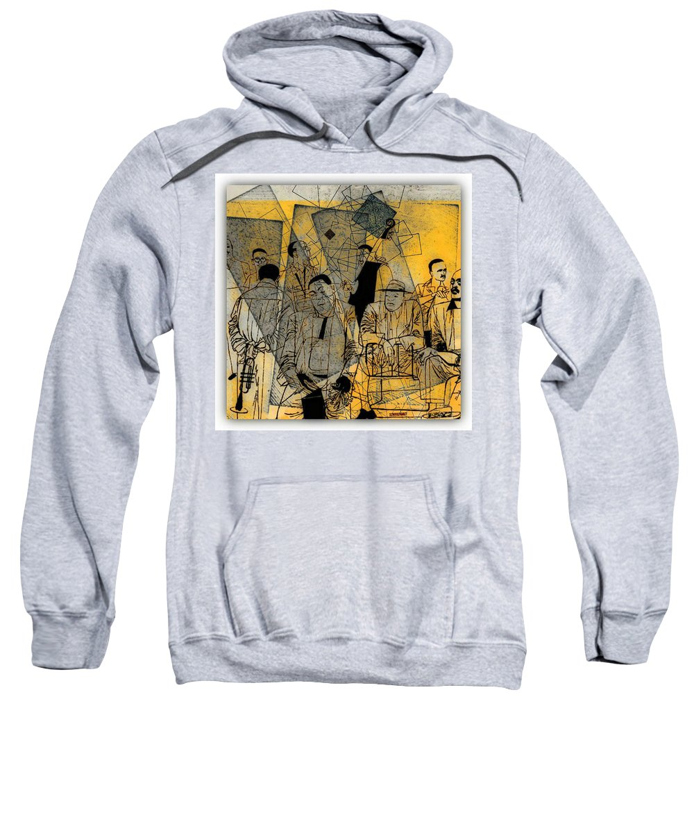 Submitted Cd Cover For The Band Bebop Complex 50's Jazz Revisited Sweatshirt featuring the digital art Submitted Cd Cover For The Band Bebop Complex 50's Jazz Revisited by Tony Adamo