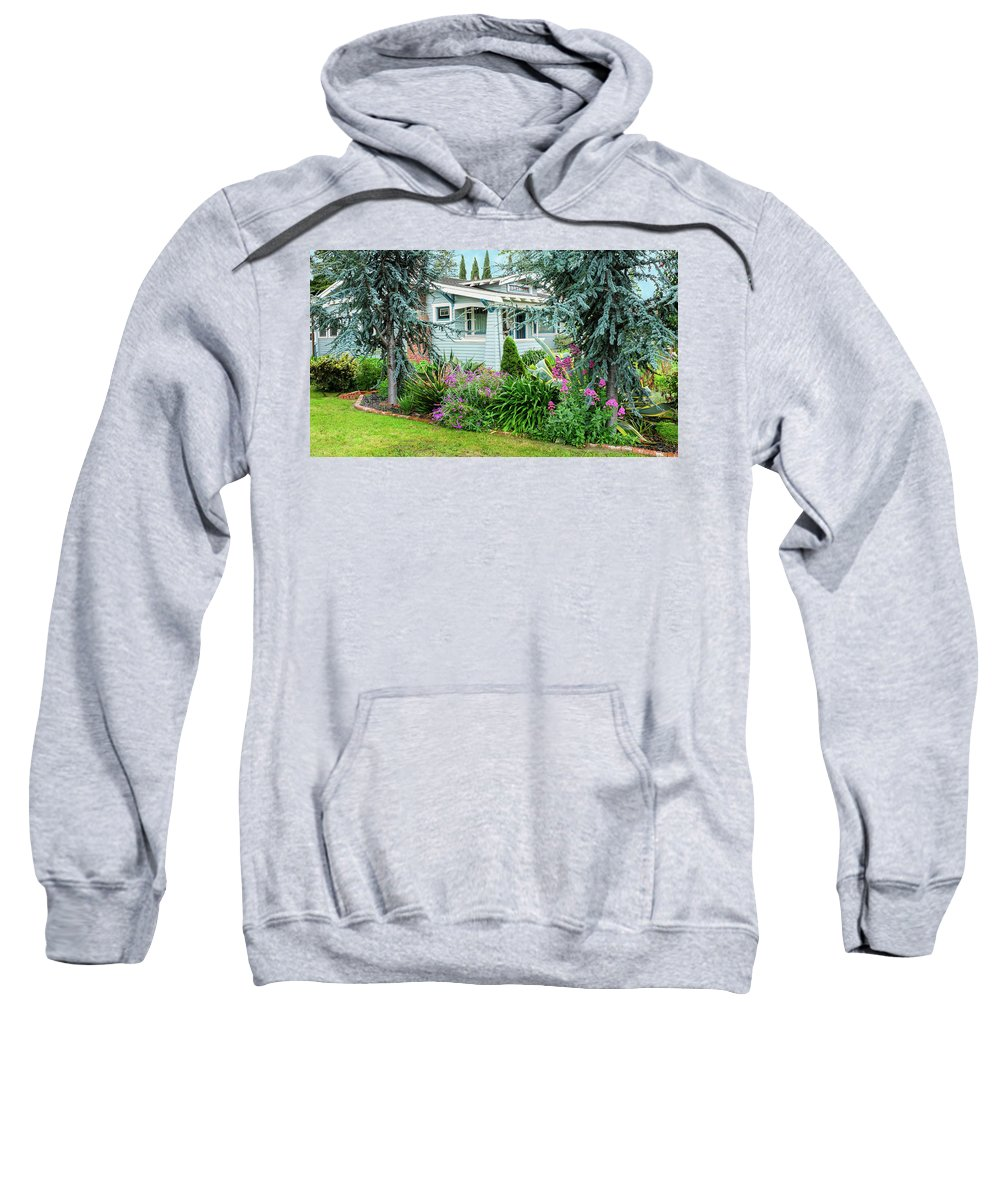 Suburbia Sweatshirt featuring the photograph Suburban House Hayward, California 7, Suburbia Series by Kathy Anselmo