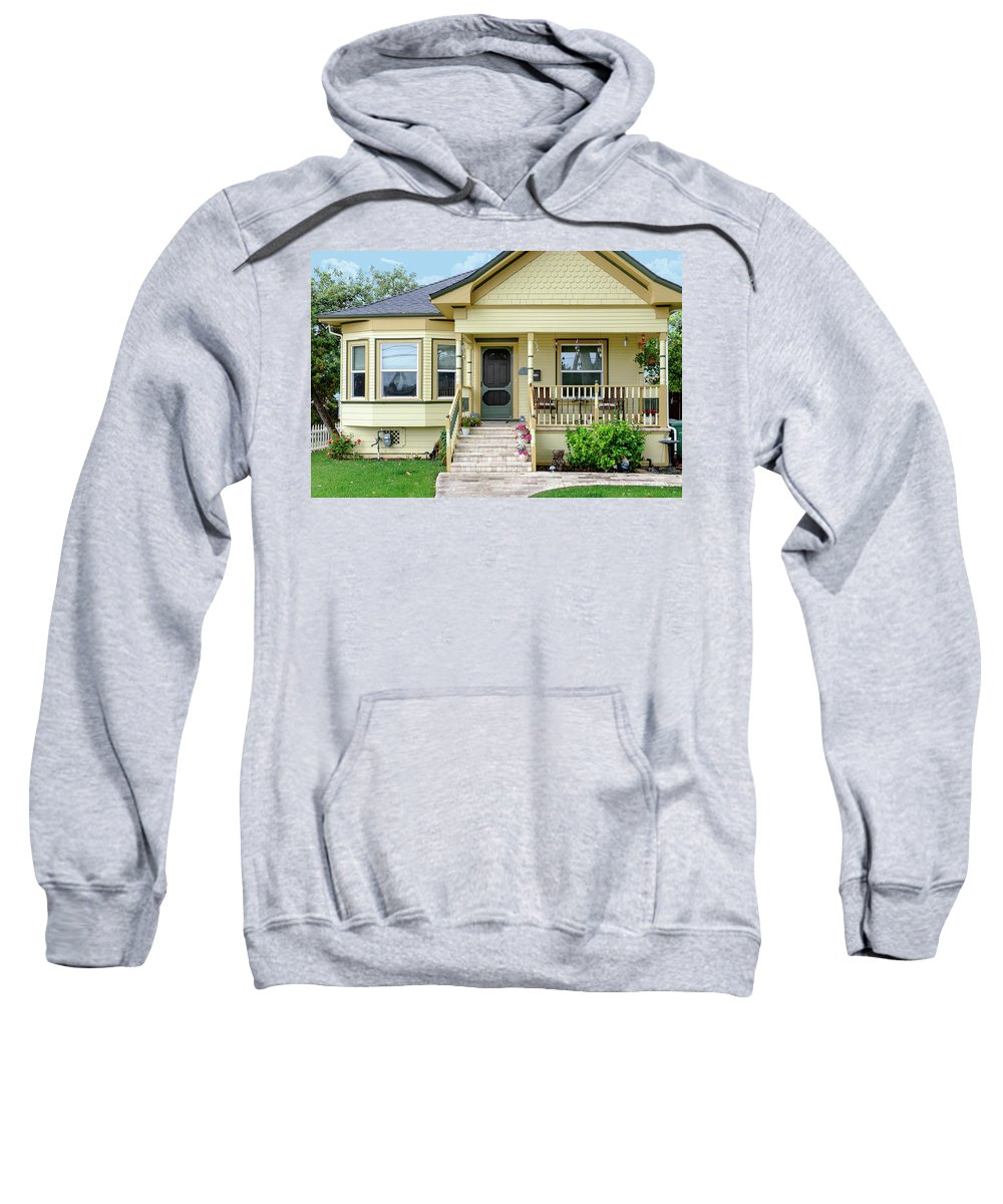Victorian House Sweatshirt featuring the photograph Suburban Victorian Cottage House Hayward California 37 by Kathy Anselmo