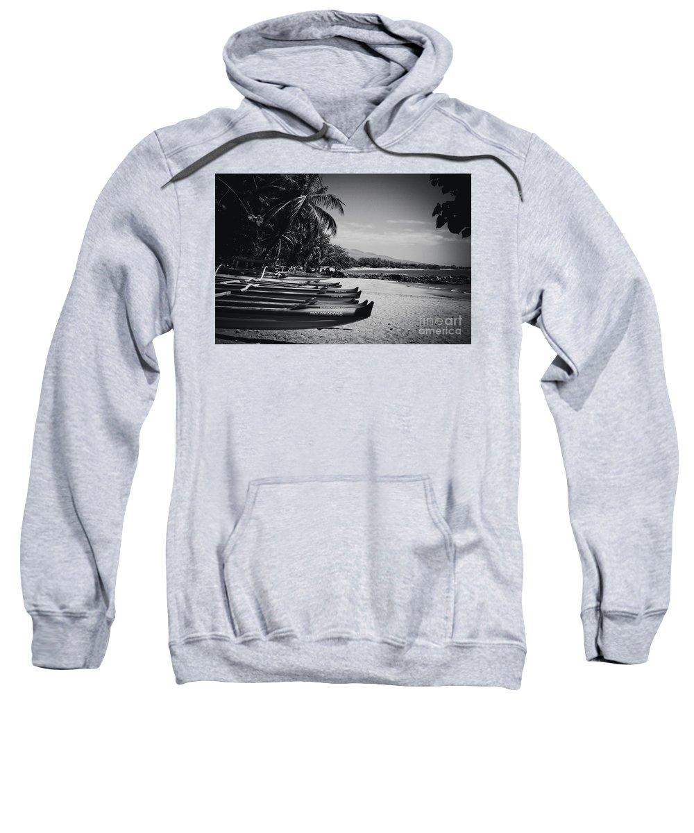 Sugar Beach Sweatshirt featuring the photograph Sugar Beach Hawaiian Outrigger Canoes Kihei Maui Hawaii by Sharon Mau