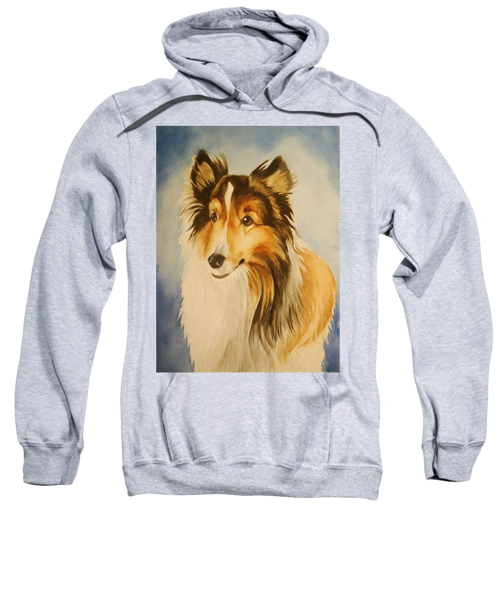 Sheltie Sweatshirt featuring the painting Sugar by Marilyn Jacobson