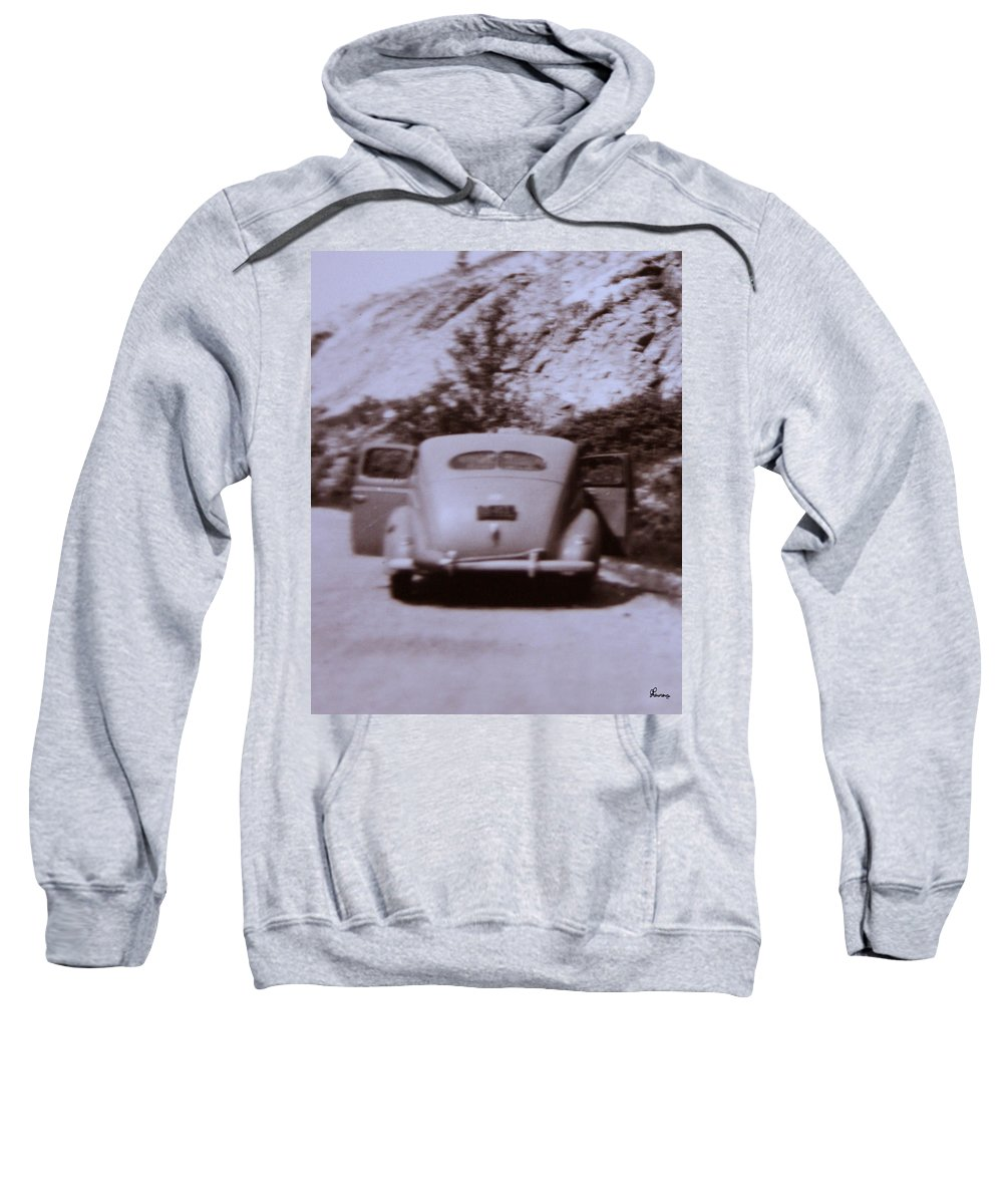 Old Cars Suicide Doors Antique Old Photo Car 1950 Automobile Classic Sweatshirt featuring the photograph Suicide Doors by Andrea Lawrence