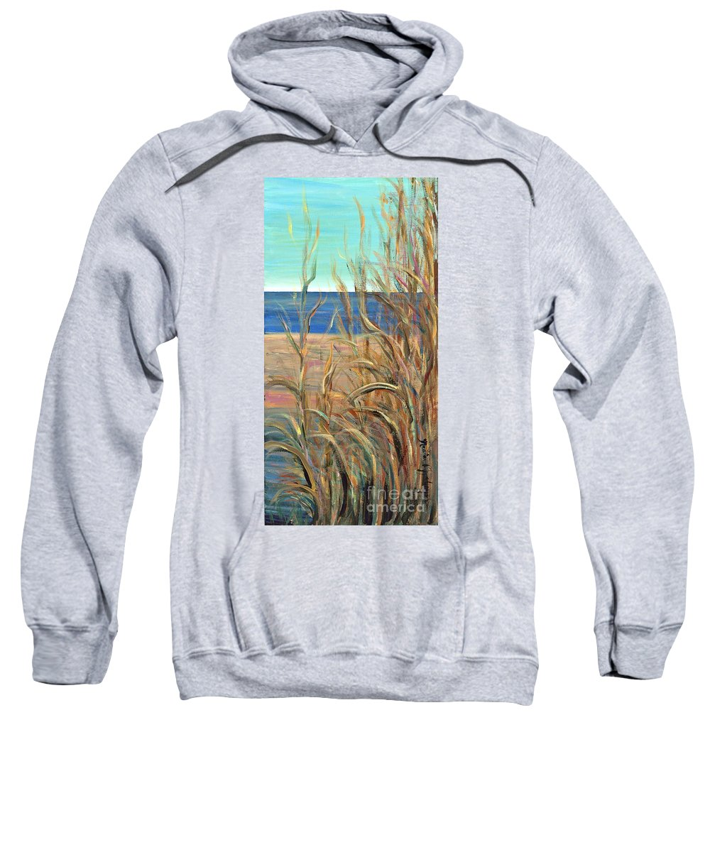 Grasses Sweatshirt featuring the painting Summer Beach Grasses by Nadine Rippelmeyer