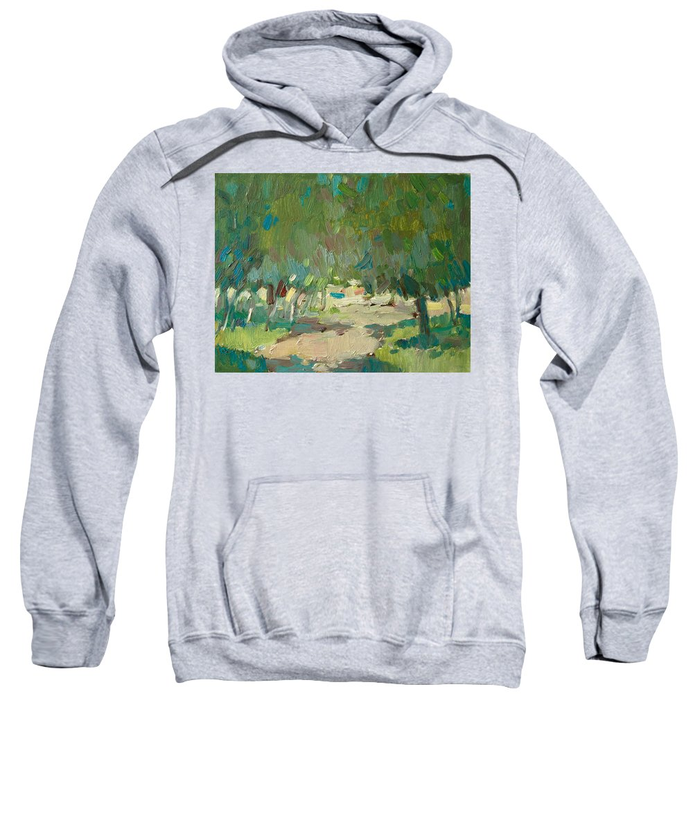 Avdeev Sweatshirt featuring the painting Summer Day In City Park. Trees by Sergey Avdeev