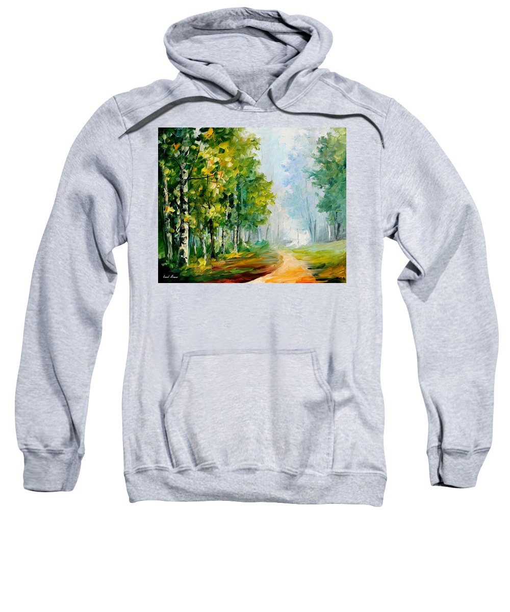 Afremov Sweatshirt featuring the painting Summer Forest by Leonid Afremov