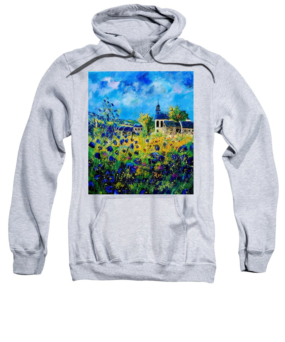 Poppies Sweatshirt featuring the painting Summer In Foy Notre Dame by Pol Ledent