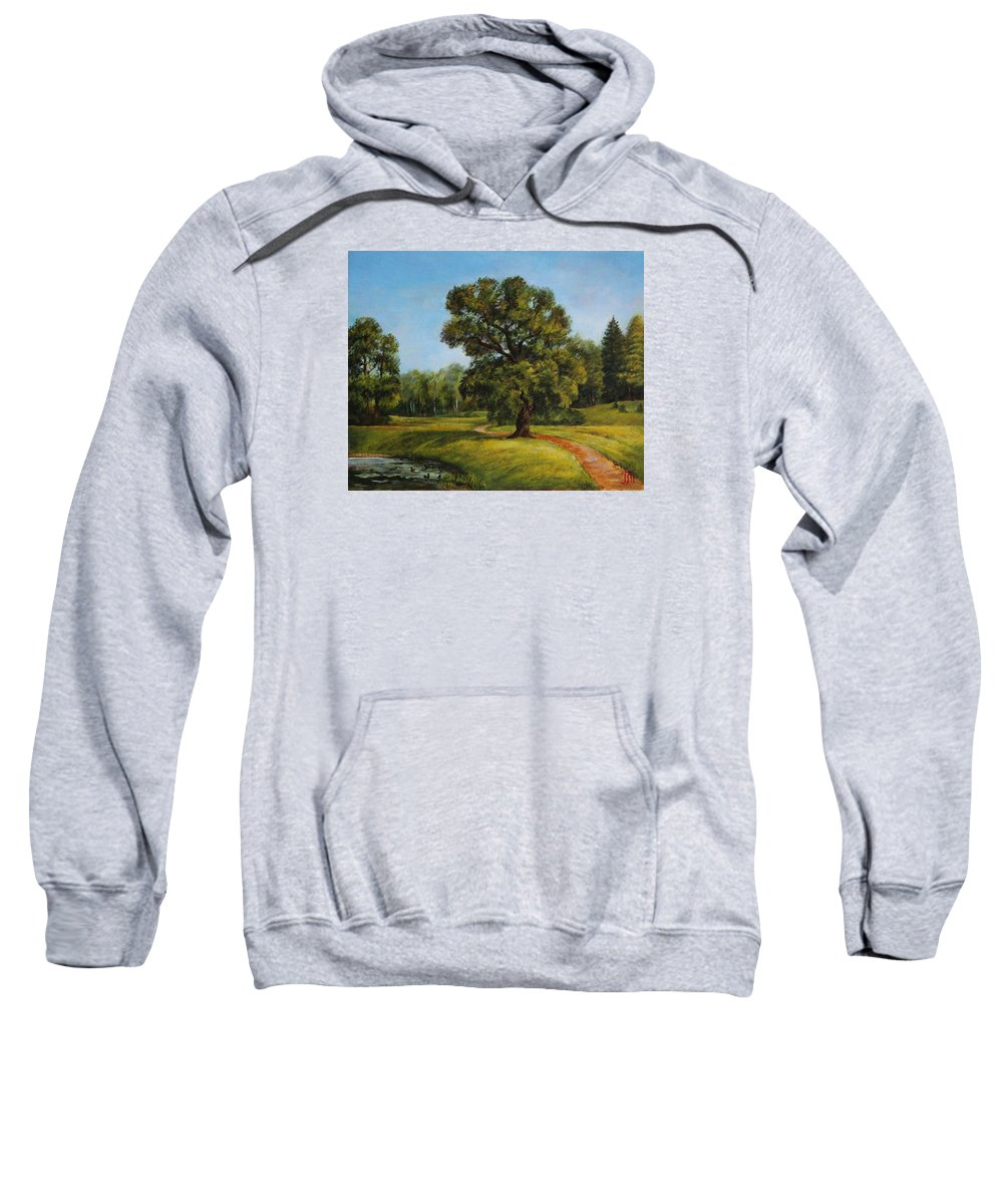 Landscape Sweatshirt featuring the painting Summer In Pavlovsk by Leonid Polotsky