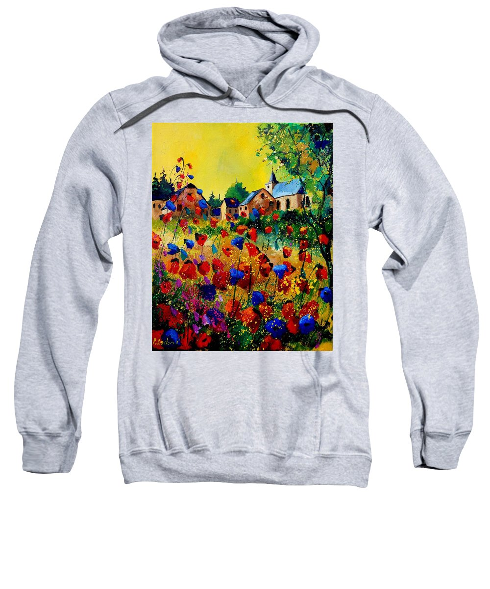 Poppy Sweatshirt featuring the painting Summer In Sosoye by Pol Ledent