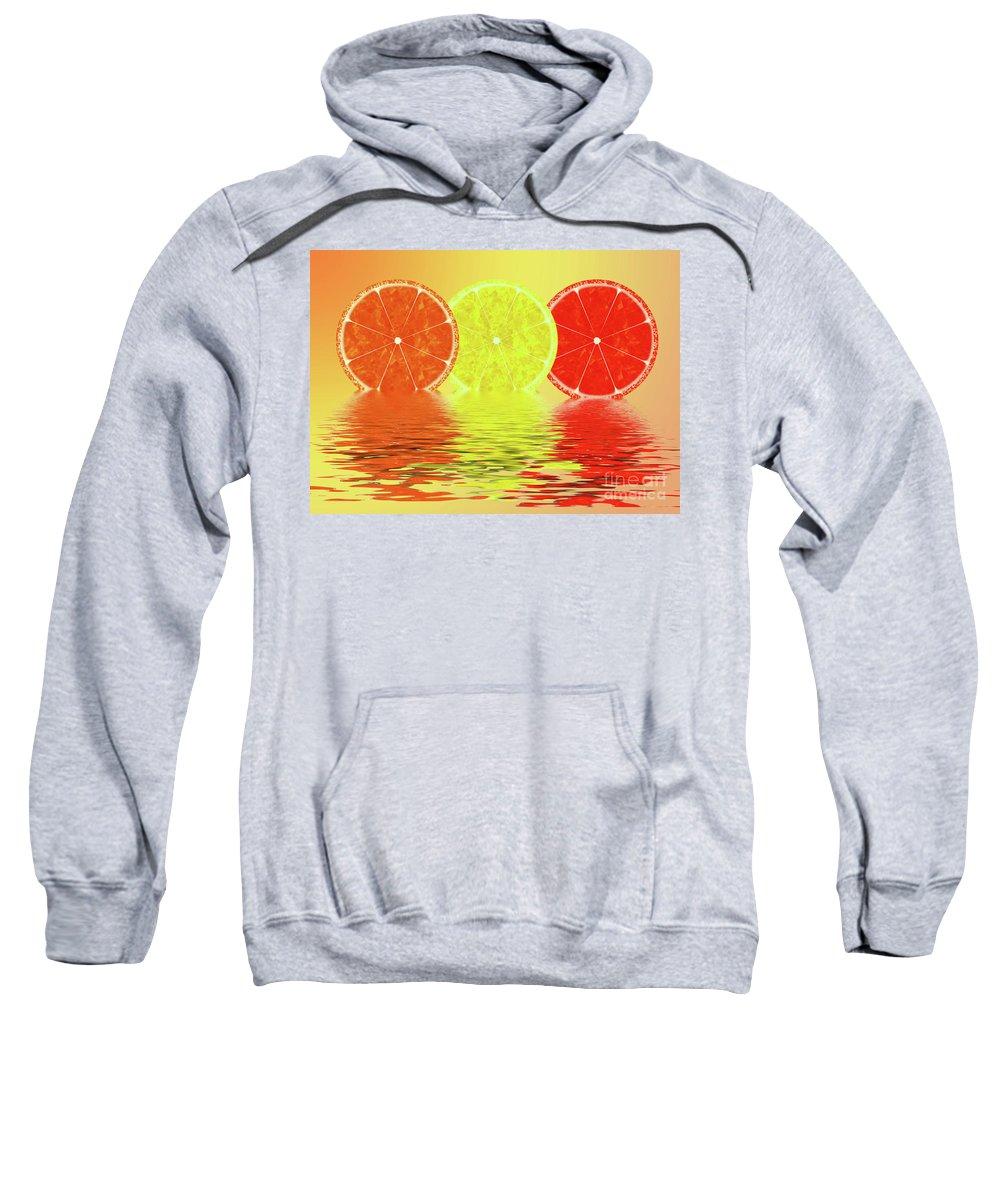 Orange Sweatshirt featuring the digital art Orange,lemon,blood Orange by J K