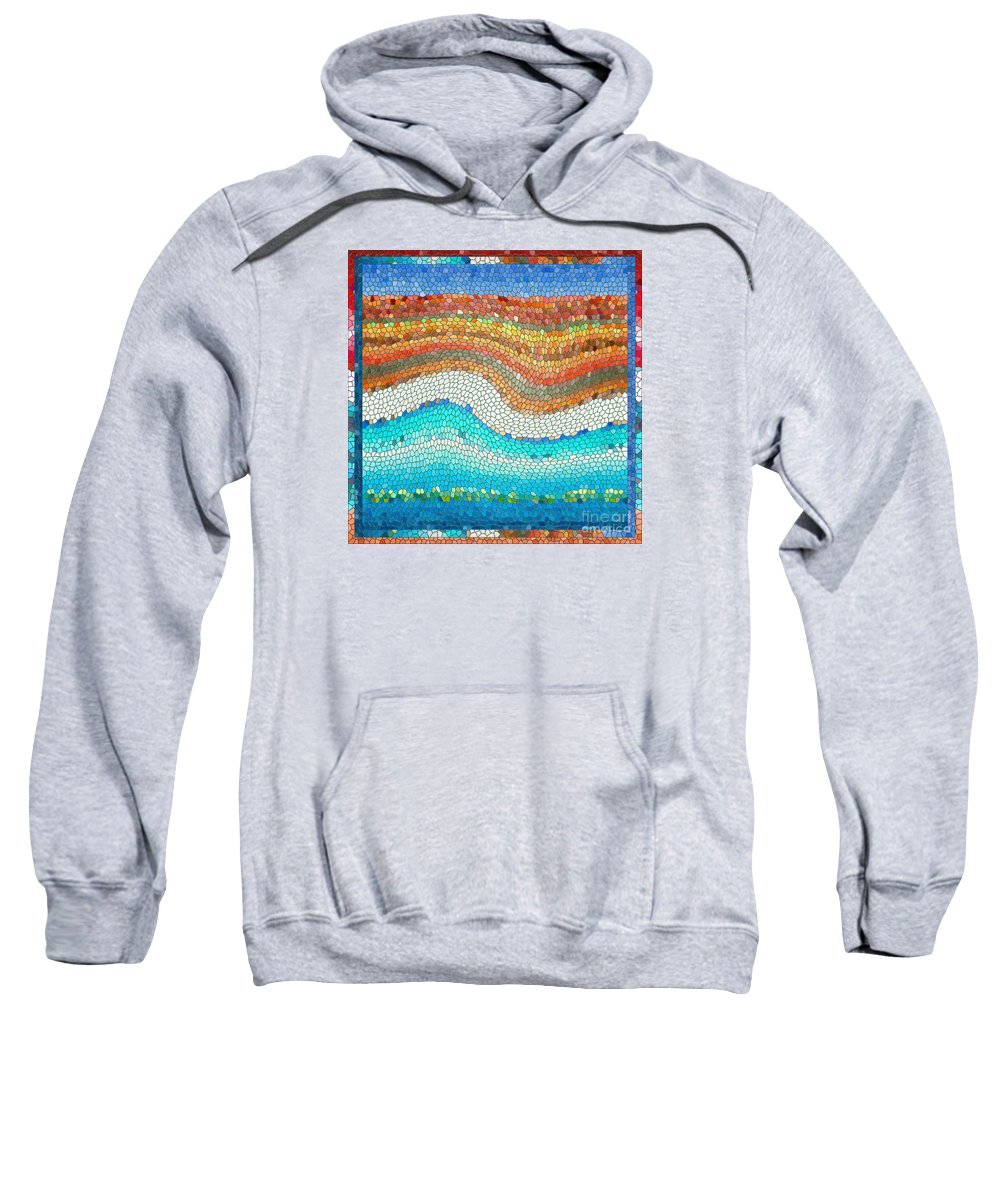 Colorful Sweatshirt featuring the digital art Summer Mosaic by Melissa A Benson