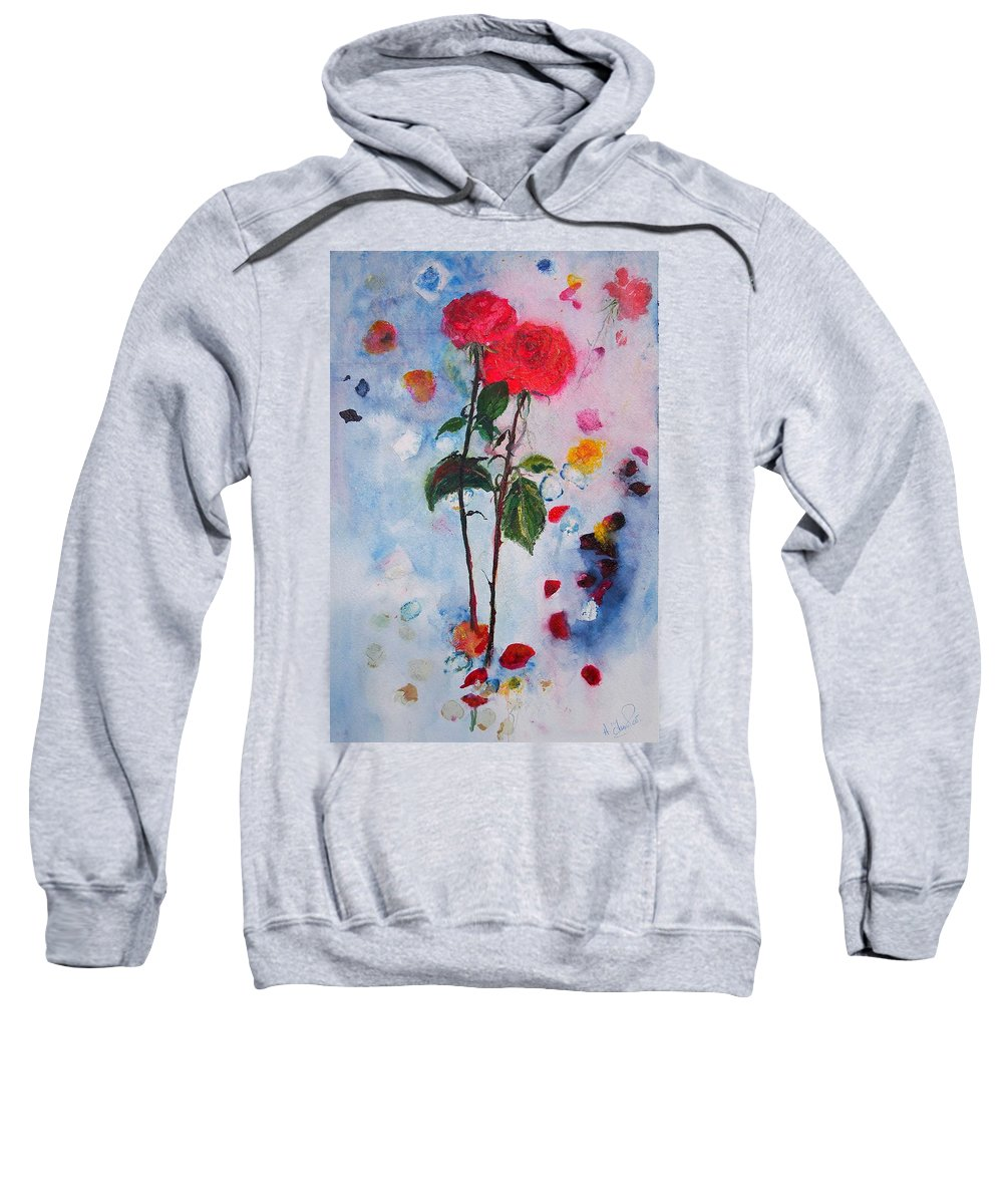 Flowers Sweatshirt featuring the painting Summer Rose by Andrea Turner