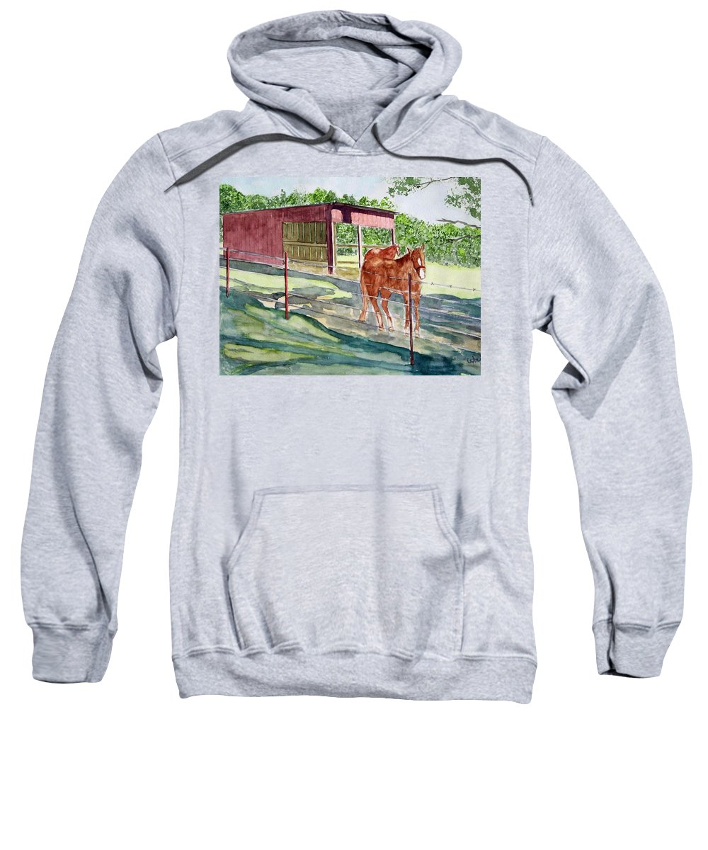 Horse Art Sweatshirt featuring the painting Summer Shade by Larry Wright