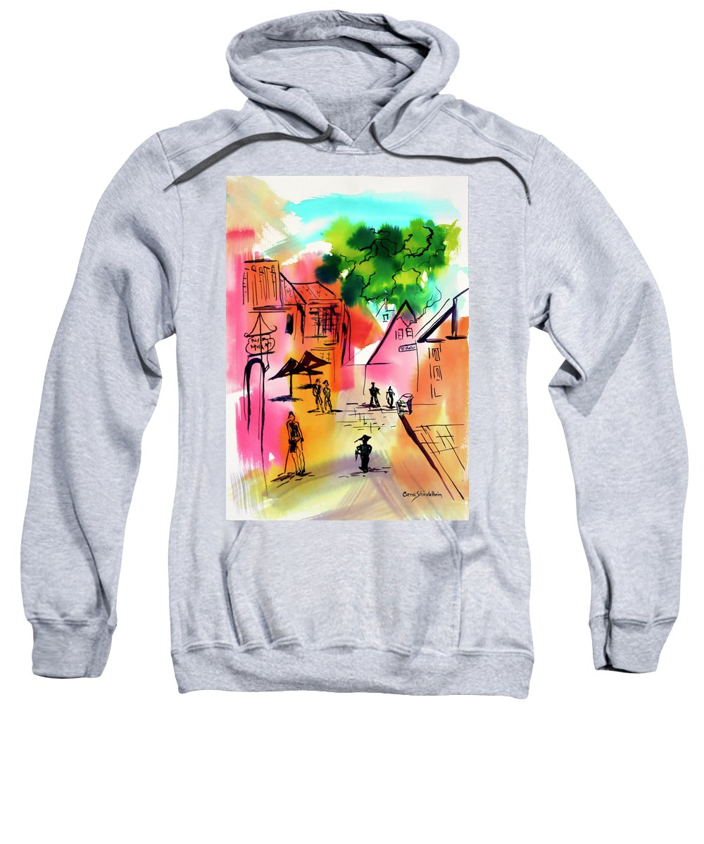Walking Sweatshirt featuring the painting Summer Strolling by Carol Schindelheim