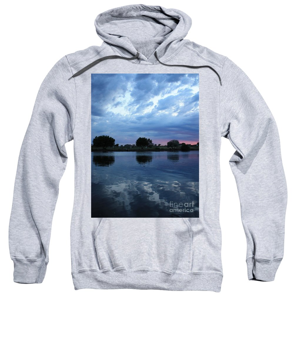 Blue Sweatshirt featuring the photograph Summer Sunset On Yakima River 5 by Carol Groenen