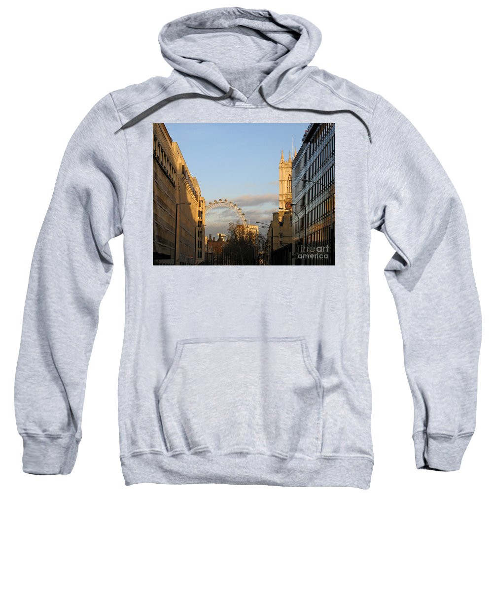 London Sweatshirt featuring the photograph Sun Sets On London by Ann Horn