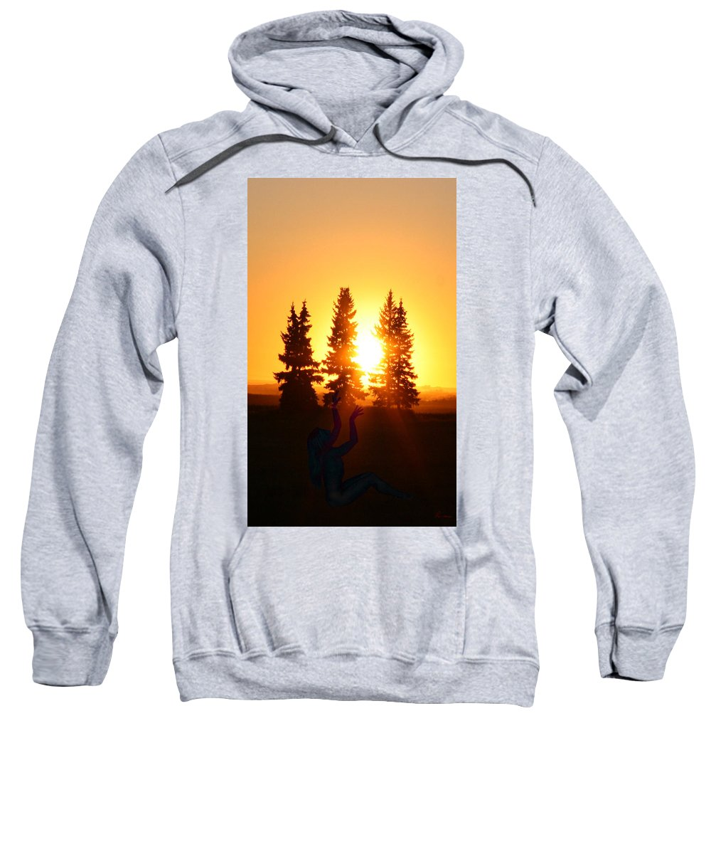 Sun Sorceress Goddess Worship Worshiper Trees Sunrise Sunset Angel Spirit Sweatshirt featuring the photograph Sun Sorceress by Andrea Lawrence