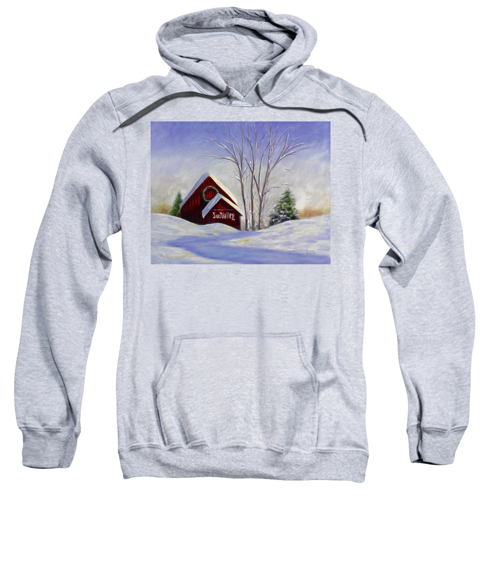 Landscape White Sweatshirt featuring the painting Sun Valley 1 by Shannon Grissom