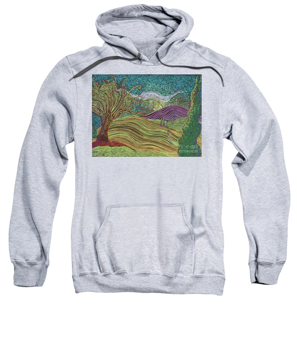 Squiggles Sweatshirt featuring the painting Sun Valley by Stefan Duncan