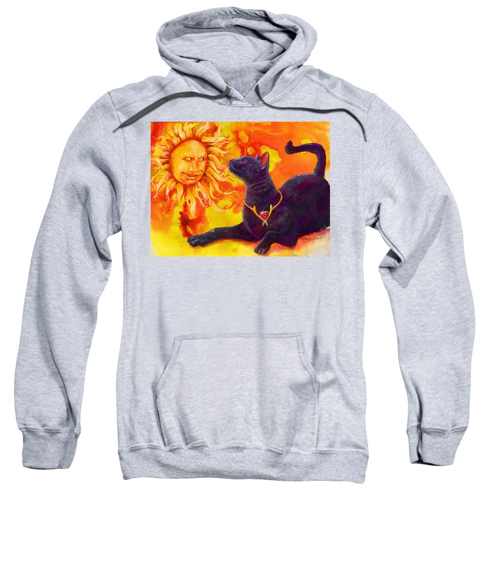 Cat Sweatshirt featuring the painting Sun Worshiper by Sherry Shipley