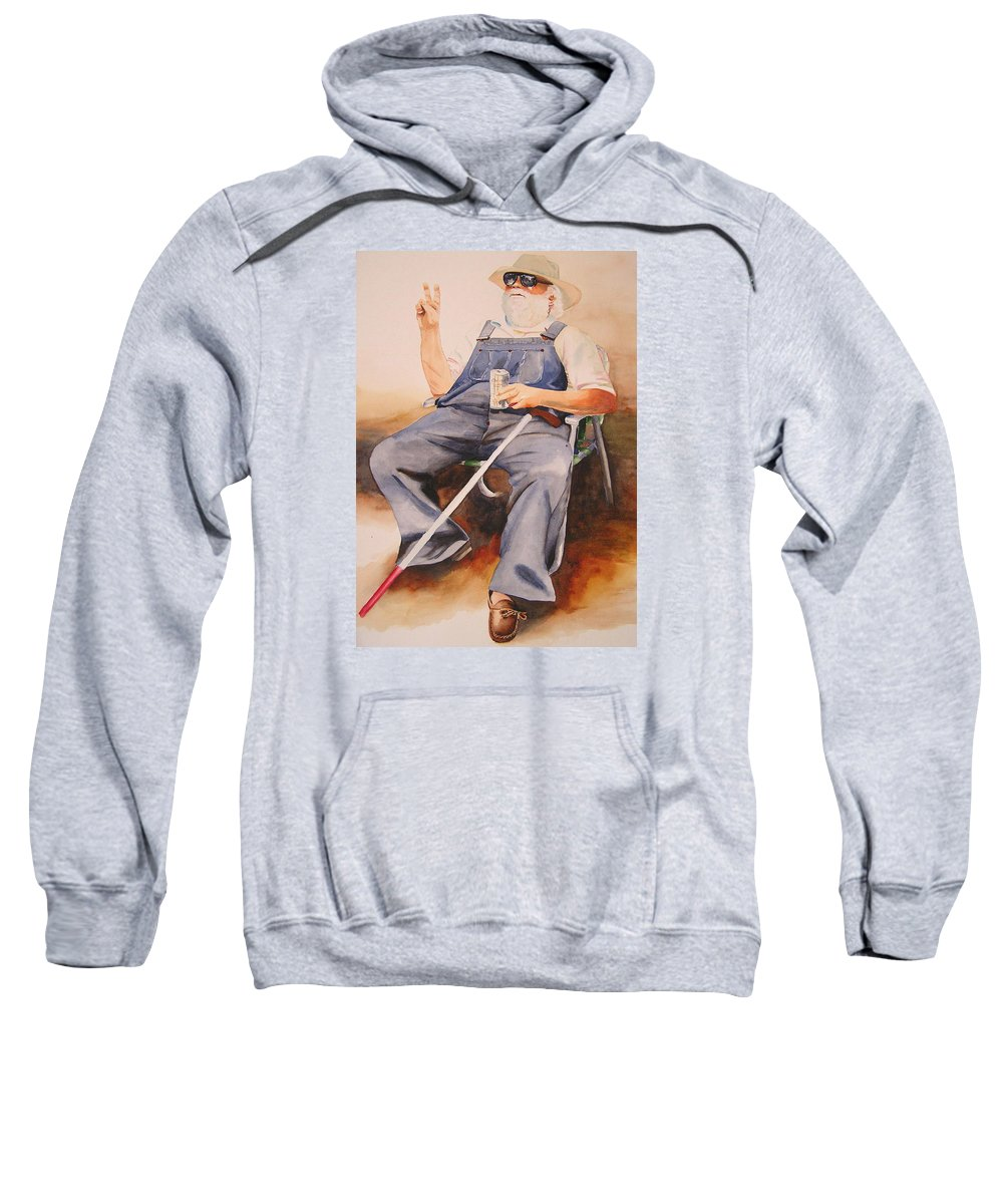 Blind Man Sweatshirt featuring the painting Sun Worshipper by Karen Stark