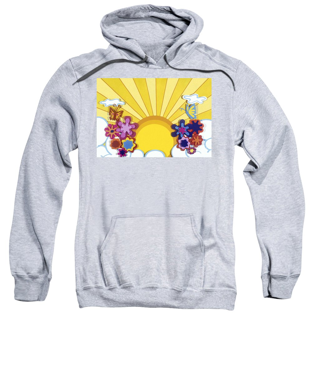 Nature Sweatshirt featuring the drawing Sunburst by Lucyna A M Green