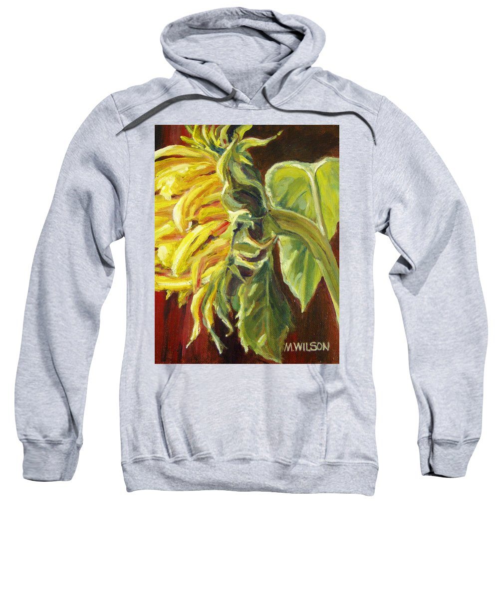 Flower Sweatshirt featuring the painting Sunflower - Over Easy by Marjory Wilson