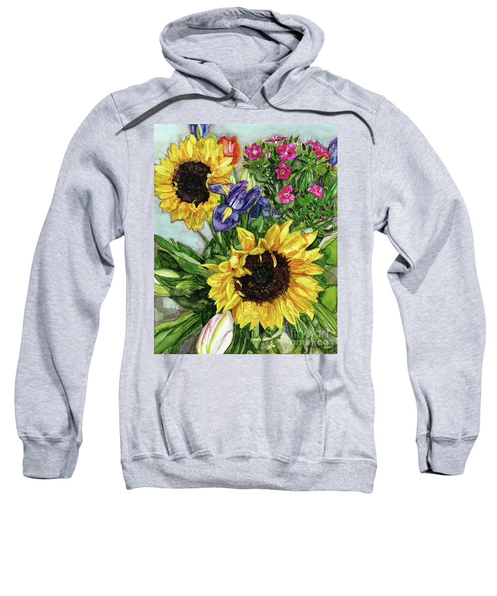 Alcohol Ink Sweatshirt featuring the painting Sunflower Bouquet by Vicki Baun Barry
