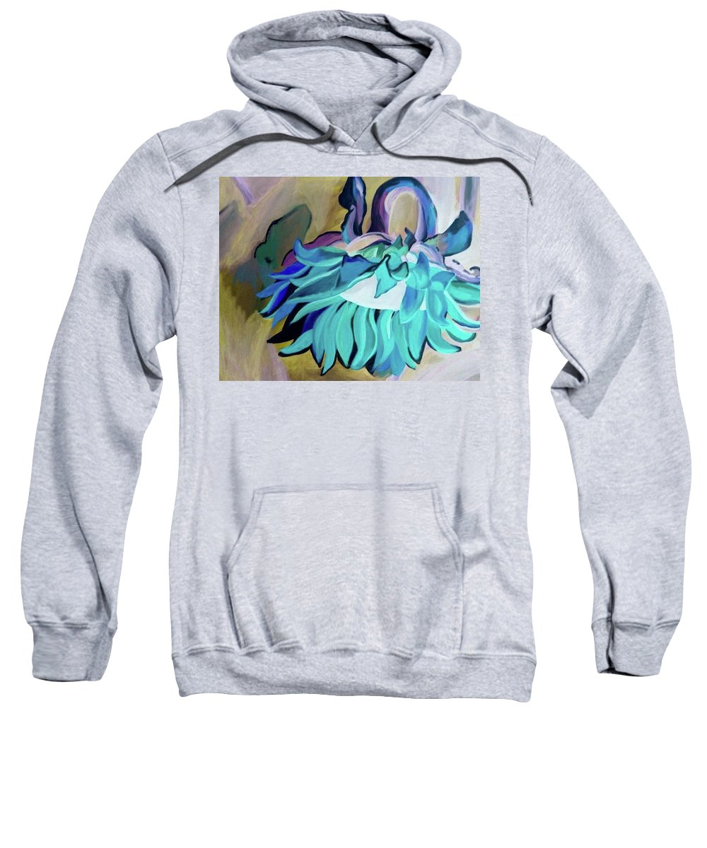 Sunflower Negative Blue Green Abstract Large Stalk Stem Flower Floral Hang Grow Bloom Sweatshirt featuring the painting Sunflower by Lori Teich