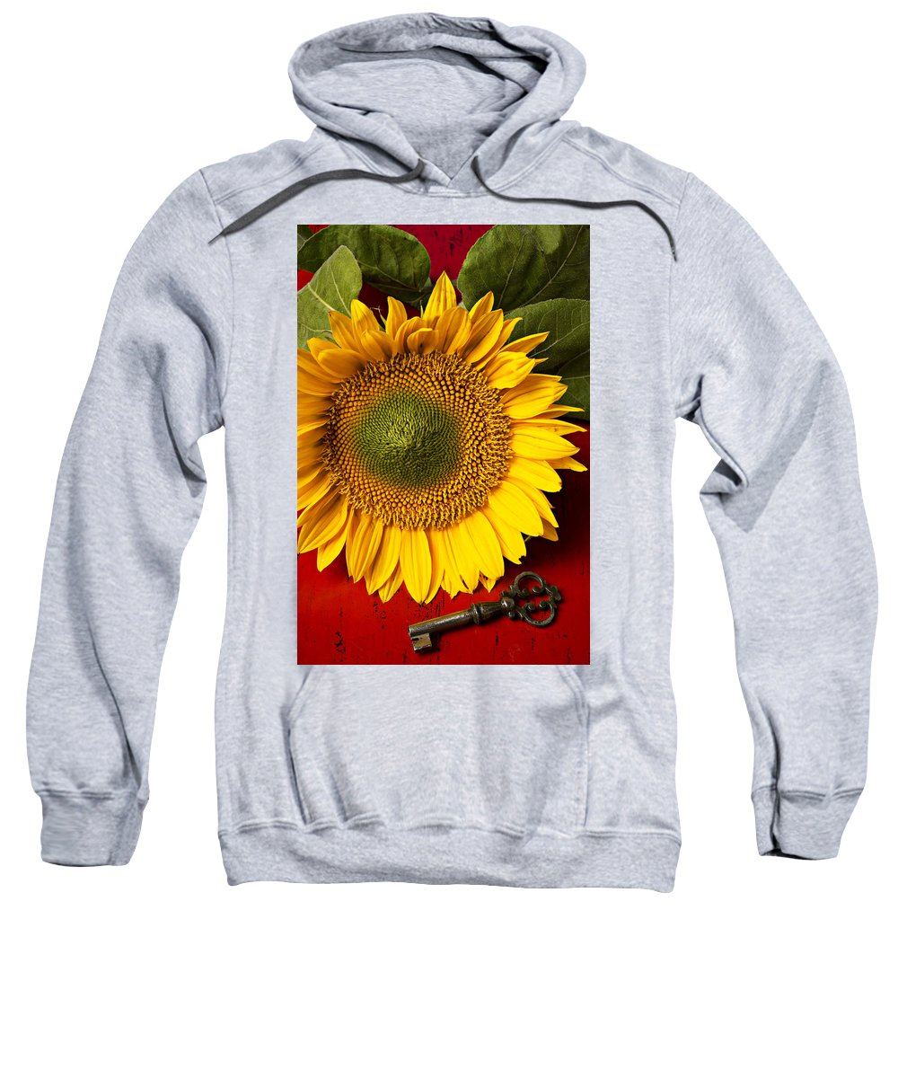 Sunflower Sweatshirt featuring the photograph Sunflower With Old Key by Garry Gay