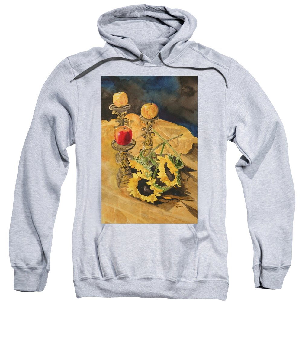 Still Life Sweatshirt featuring the painting Sunflowers And Apples by Jean Blackmer