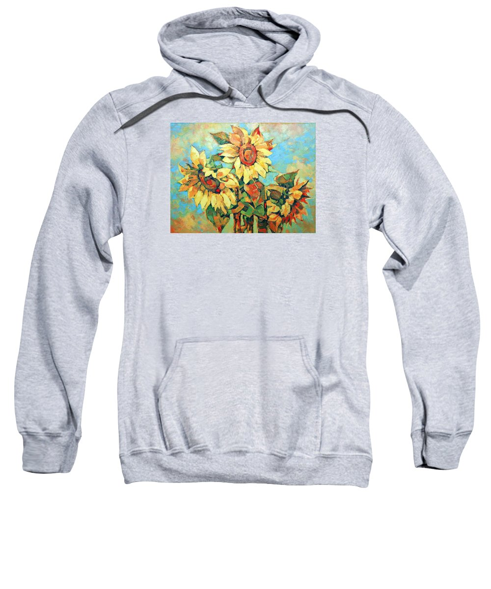 Sunflowers Sweatshirt featuring the painting Sunflowers by Iliyan Bozhanov