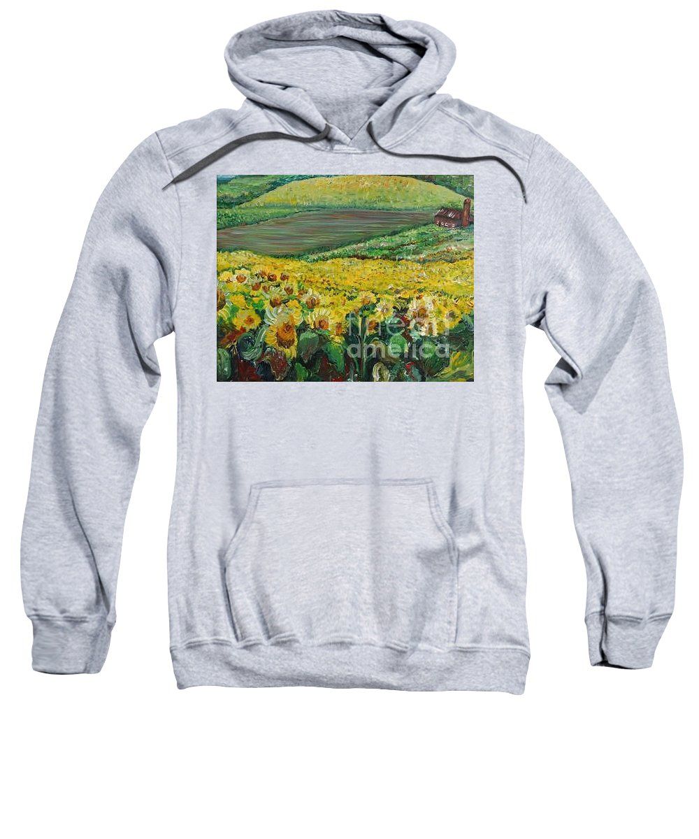 A Field Of Yellow Sunflowers Sweatshirt featuring the painting Sunflowers In Provence by Nadine Rippelmeyer