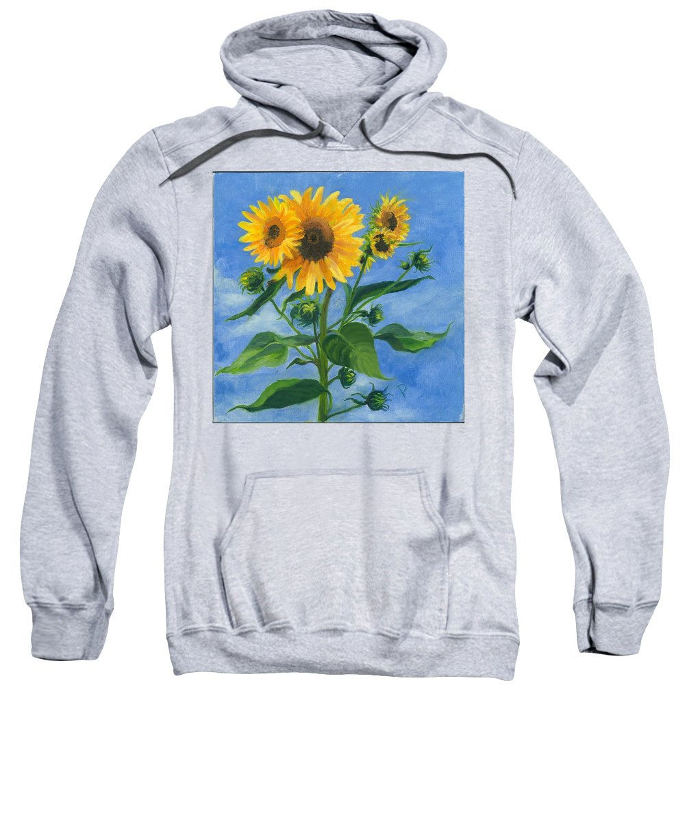 Flowers Sweatshirt featuring the painting Sunflowers On Bauer Farm by Paula Emery
