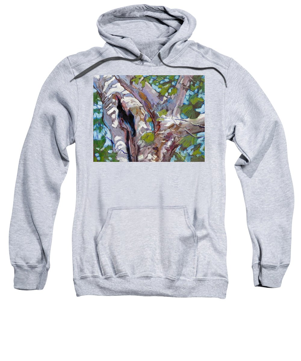 Tree Sweatshirt featuring the painting Sunlight On Sycamore by John Lautermilch