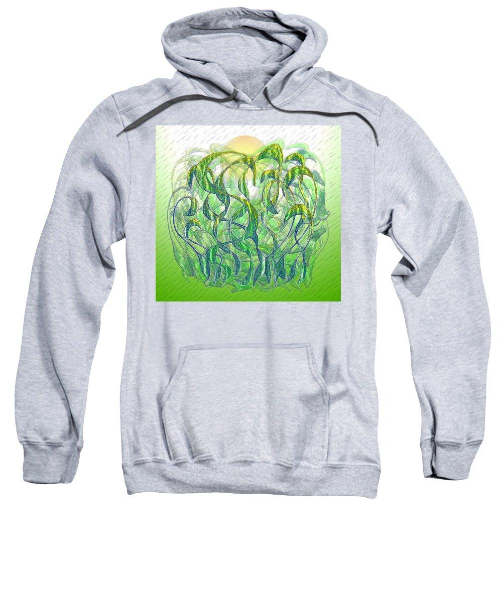 Surrealism Sweatshirt featuring the digital art Sunlight On Wet Grass by Mark Sellers