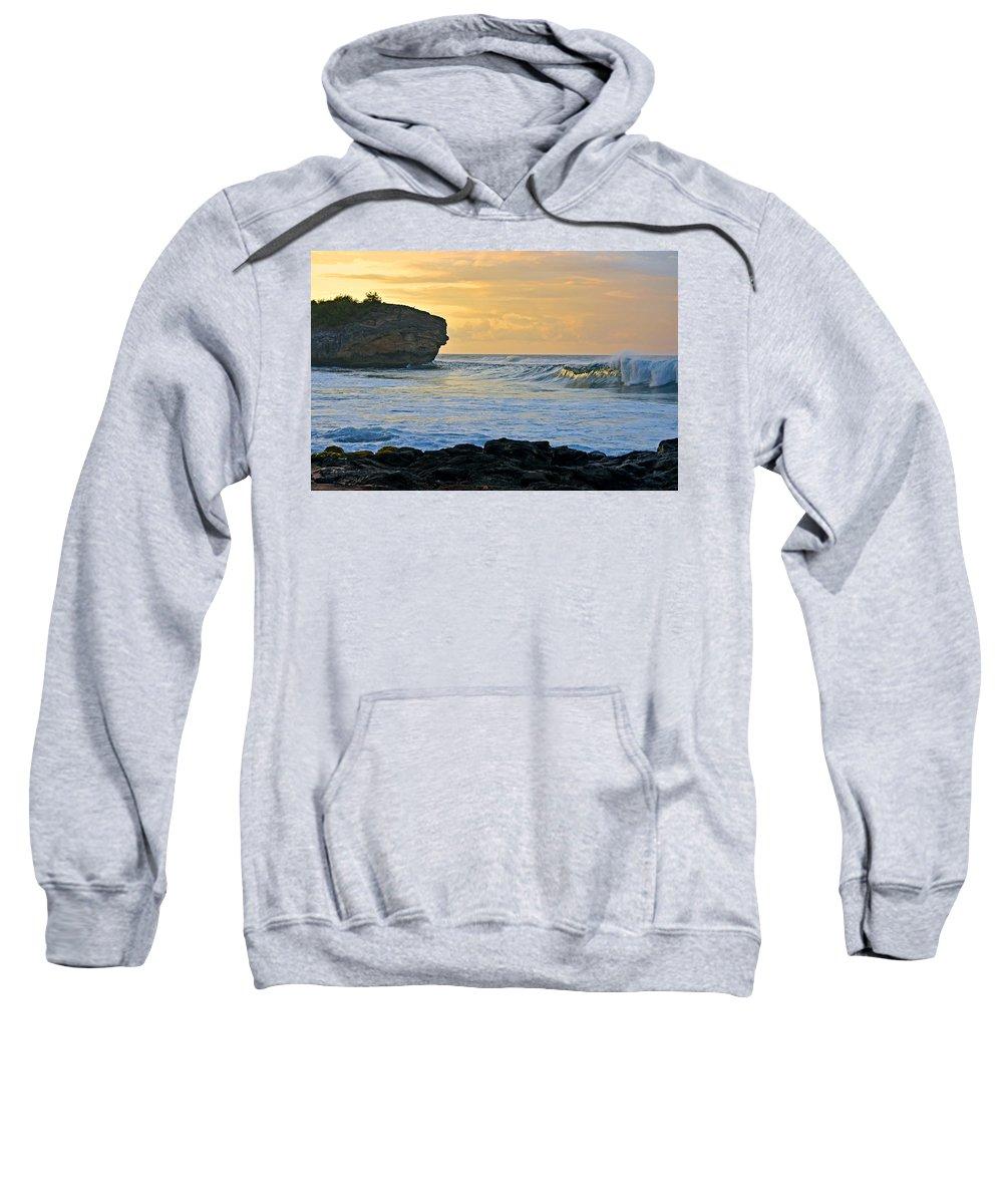 Hawaii Sweatshirt featuring the photograph Sunlit Waves - Kauai Dawn by Marie Hicks