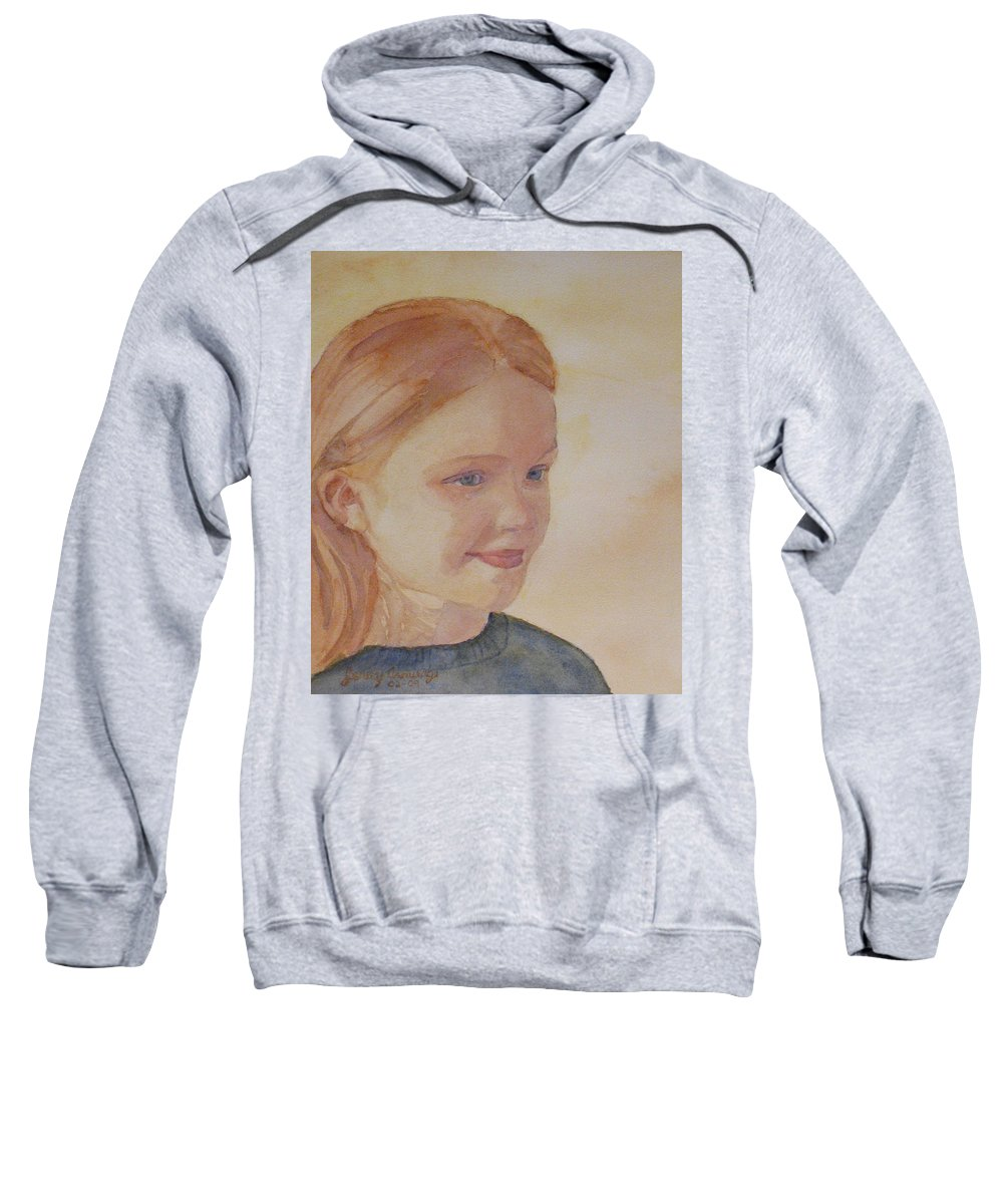 Girl Sweatshirt featuring the painting Sunnie Birdie by Jenny Armitage