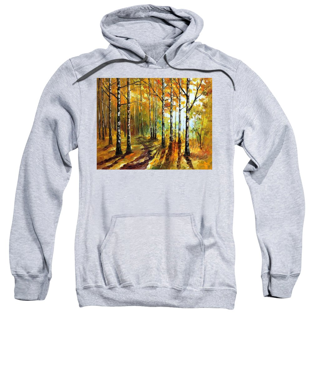 Afremov Sweatshirt featuring the painting Sunny Birches by Leonid Afremov