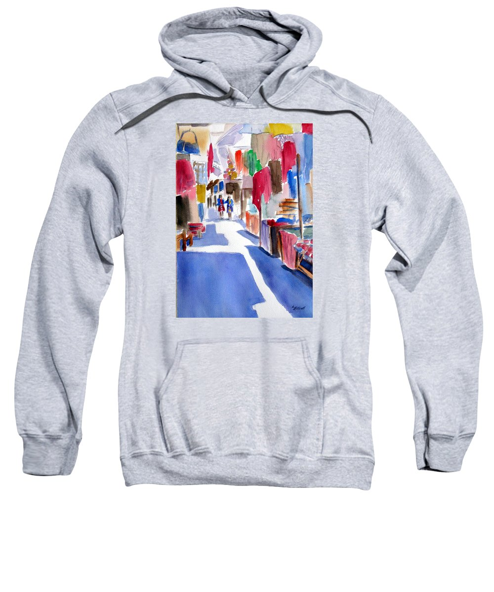 Market Sweatshirt featuring the painting Sunny Day At The Market by Marsha Elliott