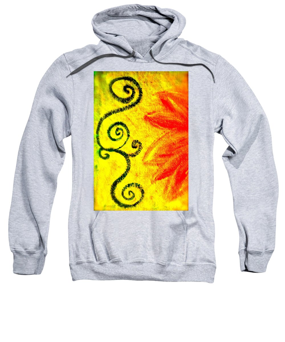 Painting Of Red Flower Sweatshirt featuring the mixed media Sunny Day Red by Gwyn Newcombe