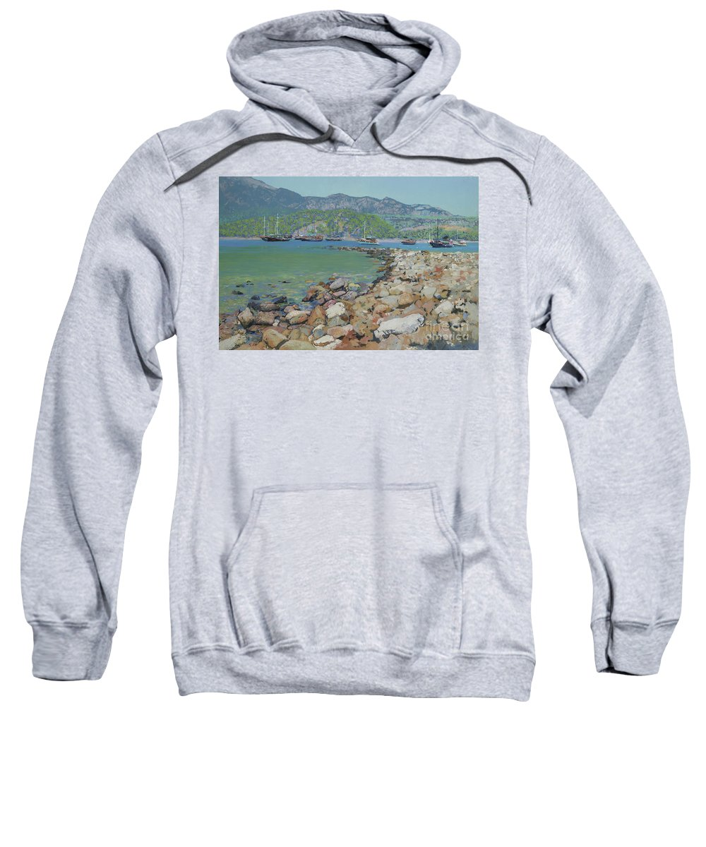 Sunny's Sweatshirt featuring the painting Sunny's Hurbor by Simon Kozhin